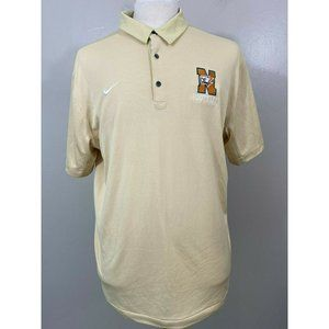 Nike Mens Cream Solid Short Sleeves Casual Collared Golf Polo Shirt Size XL